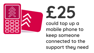 £25 could top up a mobile phone to keep someone connected to the support they need