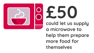 £50 could allow us to provide a microwave to help them prepare more food for themselves